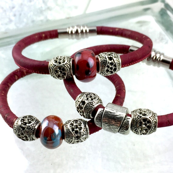 Vegan Leather Red Bracelet with Silver Tibetan, Focal Beads