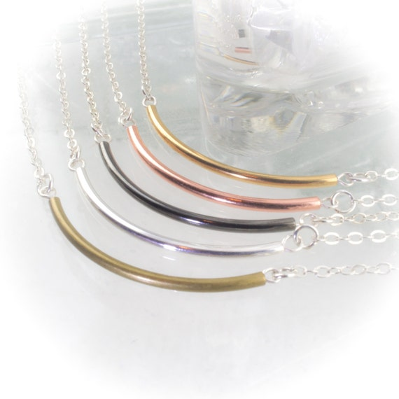 Skinny Noodle Necklace with Silver Filled Chain your choice of metal tone finish 614948NSF