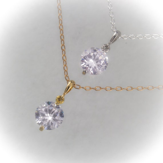 Cubic zirconia pendant necklace with Sterling silver or 16K gold