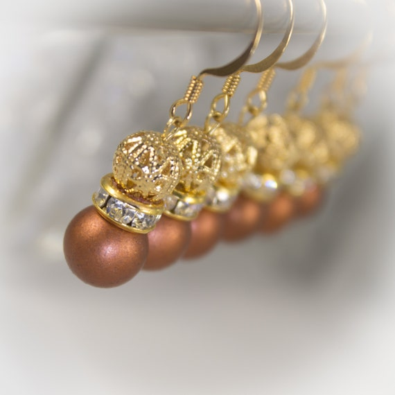 Bridal Jewelry - Copper satin pearl and gold filigree earrings