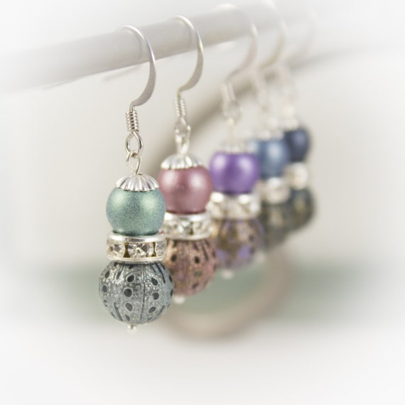 Sterling Silver bridesmaid earrings with Matte pearls, rhinestone rondelles and patina filigree 219917EBM