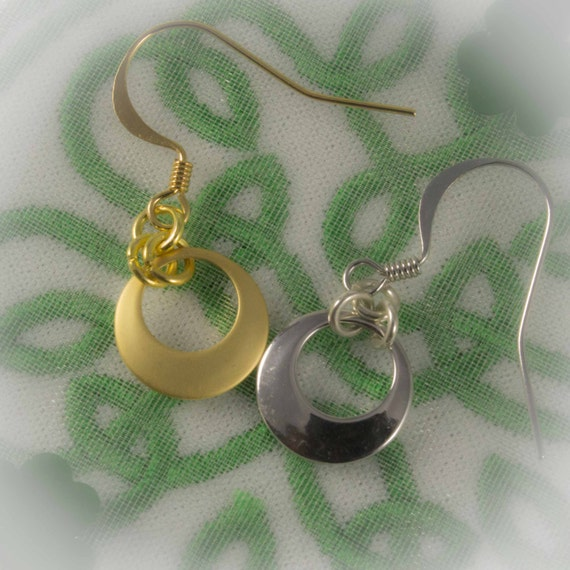 Celtic Jewelry Collection - Crescent moon earrings your choice of finish 991994CEFV