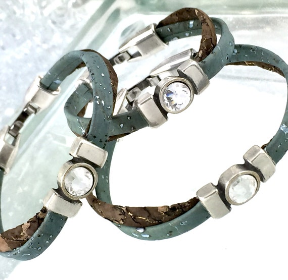 Vegan Leather Two Layered Bracelet Blue & Brown with Rhinestone Focal