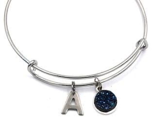 Blue Druzy Charm bangle, Sterling Silver Druzy charm bracelet, Stainless Steel Expandable bangle, Personalized bracelet, Initial bracelet