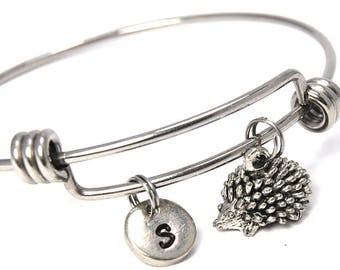 Porcupine bangle, Porcupine charm bracelet, stainless steel expandable bangle, charm bangle, personalized bracelet, initial bracelet