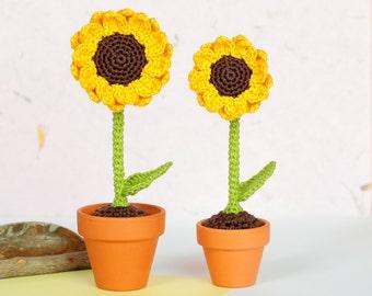 Sunflower crochet flowers, Crochet sunflower home decor, Artificial flowers, Crochet plant, Crochet decor Sunflower gift, Crochet home decor