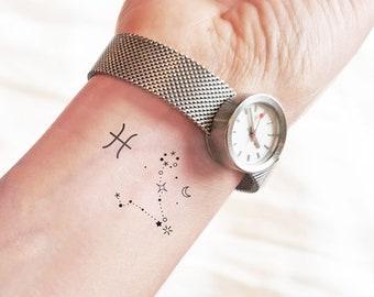 Tiny Pisces - Zodiac Sign - Temporary tattoo (Set of 2)