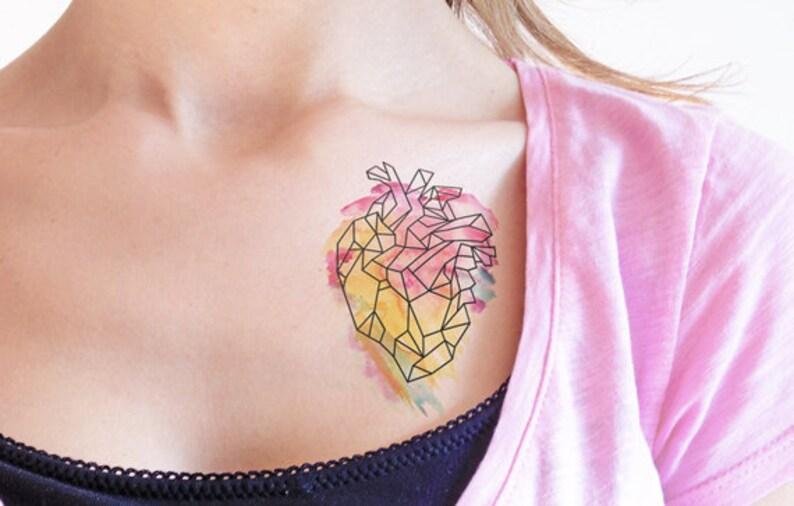 Geometryczne Serce Tymczasowy Tatuaż