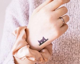 Black Cat - Temporary tattoo (Set of 2)