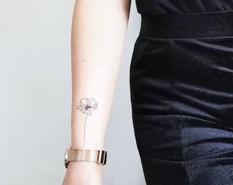 Fine Line Poppy - Flower Temporary tattoo (Set of 2)