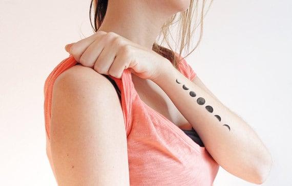 Fases de la luna Tatuaje temporal conjunto de 2 | Etsy