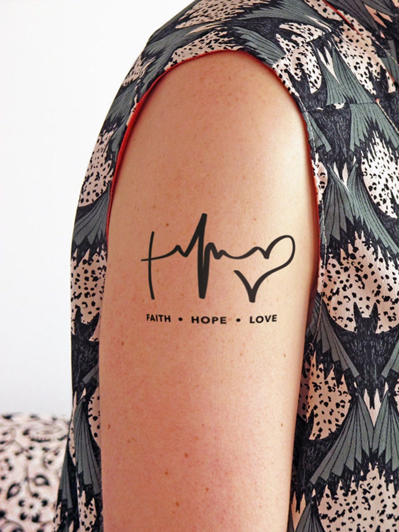 c556b139ba861 Faith Hope and Love Temporary Tattoo Set of 2 | Etsy