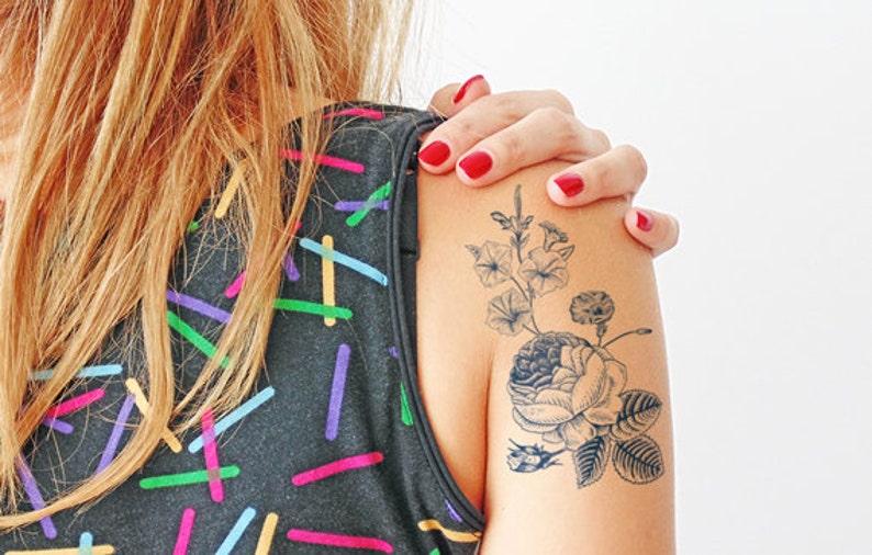 Flores Vintage Tatuaje Temporal Grande Etsy