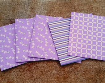Purple envelopes, set of five, square envelopes, patterned paper envelopes, handmade decorative envelopes, snail mail