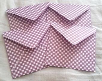 Purple striped envelopes, patterned decorative envelopes, set of four, snail mail, scrapbooking, happy mail, handmade paper envelopes