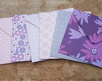 Six patterned envelopes, pack of handmade envelopes, snail mail, colourful paper stationery