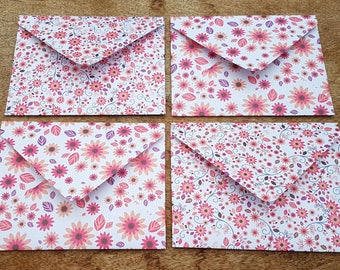 Orange flower envelopes, white floral envelopes, patterned stationery, handmade paper envelopes