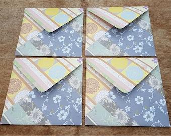 Floral envelopes, letter writing, set of four, handmade stationery, square envelopes, snail mail, scrapbooking, handmade envelopes