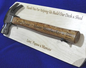 Gift For Grandson ~ Grandson Gifts ~ Job Well Done Gift ~ Thank You Gifts ~ Engraved Gifts ~ Hammer Display Gift ~ Custom Gifts For Boys ~
