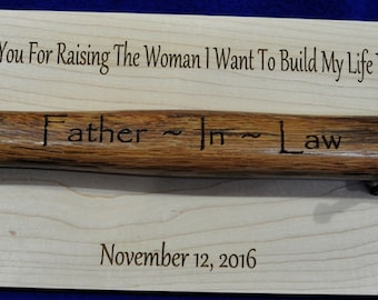 Father In Law Gift ~ Gift For Bride's Dad ~ Engraved Hammer Plaque ~ Gift For Father In Law ~ Engraved Hammer ~ Wedding Gift For Bride's Dad