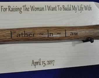 Father In Law Gift ~ Gift For Bride's Dad ~ Bride's Dad ~ Gift For Brides Dad From Groom ~ Engraved Hammer ~ Wedding Gift For Father In Law