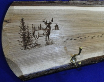 Christmas Gift For Dad ~ Deer Camp ~ Deer Coat Rack ~ Live Edge ~ Reclaimed Wood ~ Gifts For Hunter ~ Hunting Cabin ~ Hunting ~ Man Cave ~