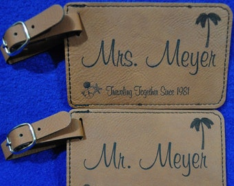 Wedding Gift ~ Luggage Tag ~ Bridal Party Gift ~ Leather Tag ~ Bride And Groom Tag ~ Destination Wedding ~ Monogram Gift ~ Travel Gift ~