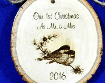 Christmas Tree Ornament ~ First Christmas ~ First Christmas Ornament ~ Engraved Ornament ~ Couple Ornament ~ First Christmas As Mr and Mrs