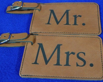 Mr and Mrs Gift ~ Gift For Couple ~ Luggage Tag ~ Leather Tag ~ Bride And Groom Tag ~ Wedding Gift ~ Travel Gift ~ Anniversary Gift ~ Shower