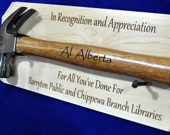Recognition Gift ~ Appreciation Gift ~ Retirement Plaque ~ Ceremonial Gift ~ Recognition Gifts ~ Hammer Gift ~ Award ~ Appreciation Gifts ~