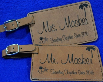 Gift For Couple ~ Luggage Tag ~ Bridal Party Gift ~ Leather Tag ~ Bride And Groom Tag ~ Destination Wedding ~ Travel Gift ~ Anniversary Gift