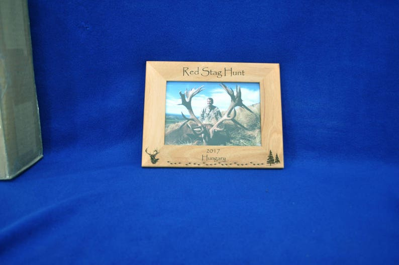 Gift For Dad ~ Red Stag Hunt ~ Gift For Husband ~ Hunting Gift ~ Engraved Hunting Frame ~ Birthday Gifts For Men ~ Deer Hunting ~ Red Stag ~