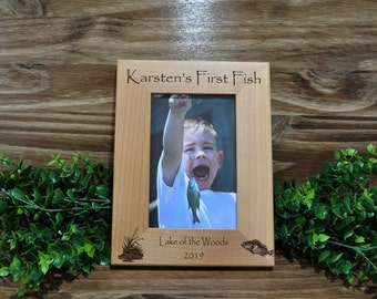 First Fish, First Fish Frame, Fishing Frames, Custom Frames, Childs First Fish, Picture Frames, Fishing Gift, Christmas Gift Child, Fishing