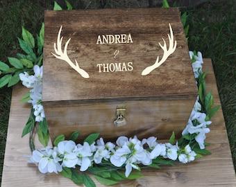 Wedding Card Box | The Hunt Is Over | Card Box With Lock | Wedding Card Holder | Deer Antler Decor | Rustic Wedding Ideas | Deer Hunting |