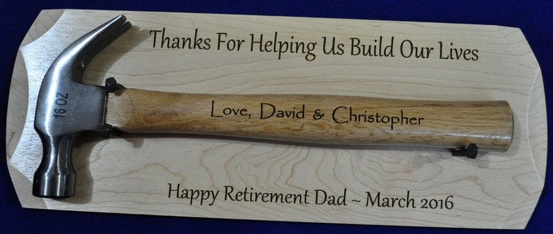 Retirement Gift  Hammer Plaque  Personalized Hammer Gift  image 0