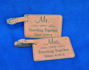 Bridal Shower Gift ~ Gift For Couple ~ Luggage Tag ~ Leather Tag ~ Mr and Mrs Gift ~ Wedding Gift ~ Travel Gift ~ Anniversary Gift ~ Travel