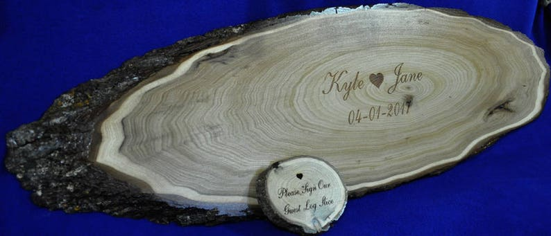 Tree Slice  Wedding Guest Book  Wood Slab Guest Book  Guest image 0
