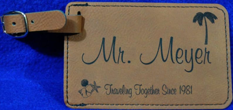 Wedding Gift  Luggage Tag  Bridal Party Gift  Leather Tag  image 1