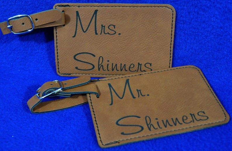 Gift For Couple  Mr and Mrs Gift  Luggage Tag  Leather Tag image 0