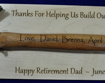 Retirement Gift For Dad ~ Personalized Retirement Gift ~ Retirement Plaque ~ Ceremonial Gift ~ Gift For Retirement ~ Engraved Retirement