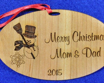 Gift For Parents.  Mom & Dad Christmas.  Engraved Ornament.  Personalized Ornaments. Snowman Gift. Christmas Gifts For Family. Free Shipping
