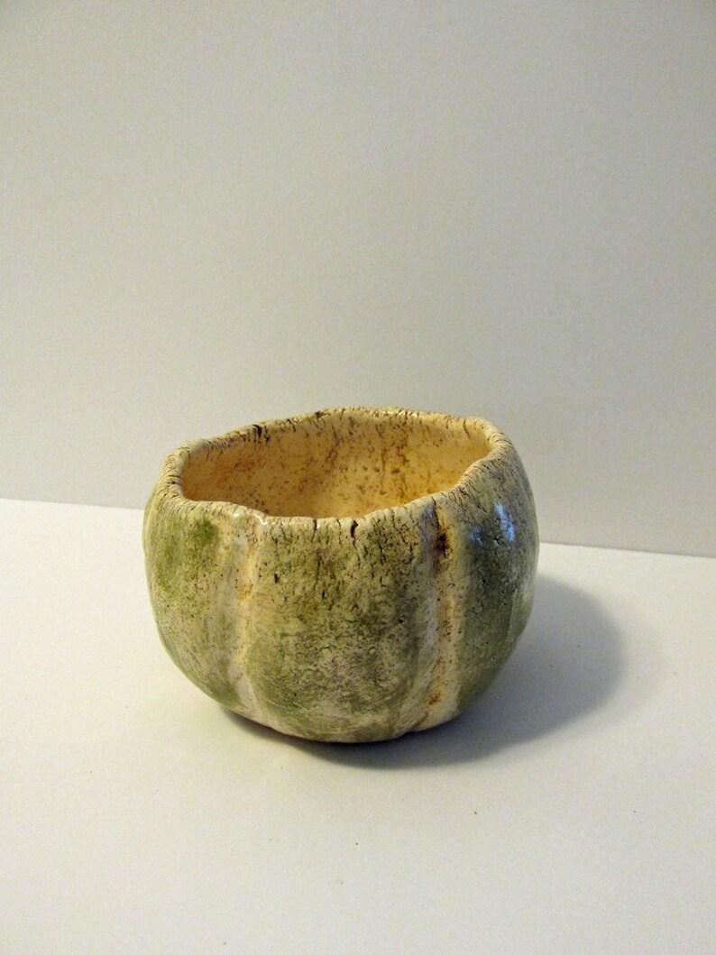 Small ceramic fired pumpkin style trinket bowl