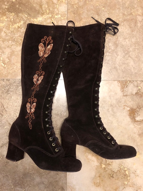 Vintage 60s Gogo Boots Brown Suede Embroidered But