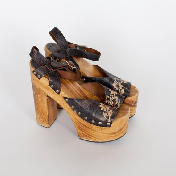 70s Platforms Vintage Platforms Shoe  Leather Hand
