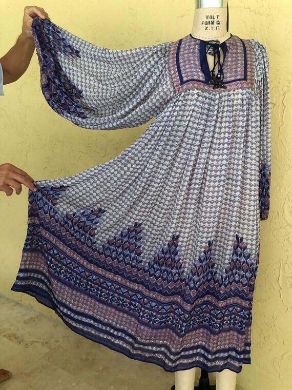 Vintage 70s Indian Dress Ritu Kumar I. Magnin Midi