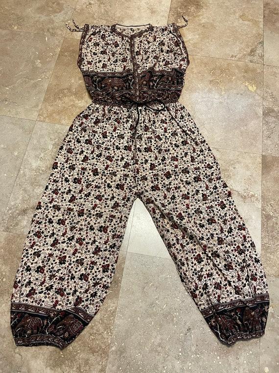 Vintage Jumpsuit Harem Indian Cotton Block Print B