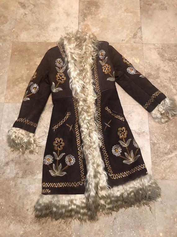 Vintage 70s Afghan Coat Penny Lane Coat Sheepskin