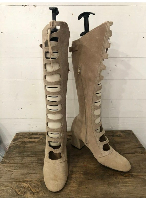 Vintage 60s Gogo Boots Gladiator Boots Cut Out Boh