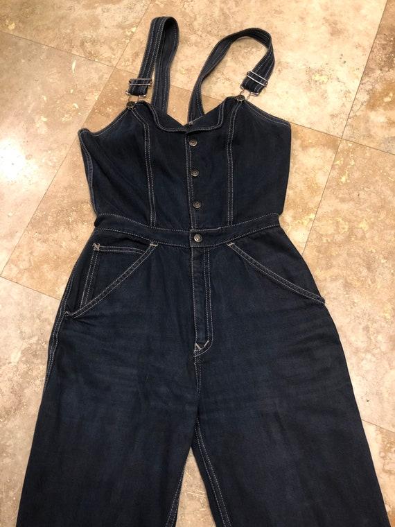 Vintage 1970s N'est Ce Pas BLACK Denim Overalls J… - image 5