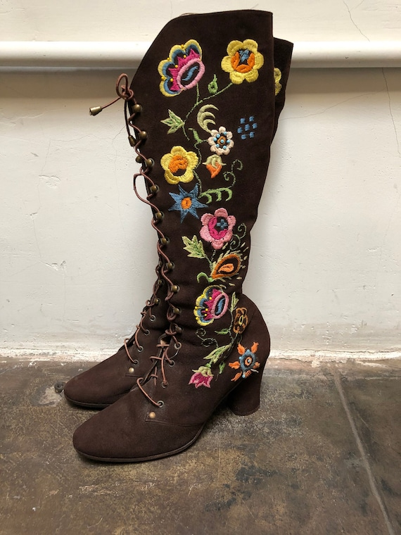 Jerry Edouard Boots Embroidered Vintage 60s 70s Be
